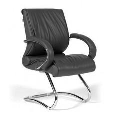 Кресло для посетителей Chairman CH 445 кожа черное