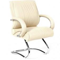 Кресло для посетителей Chairman CH 445 кожа кремовое