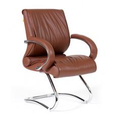 Кресло для посетителей Chairman CH 445 кожа коричневое