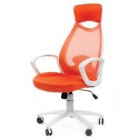 Кресло Chairman CH 840 белый каркас, оранжевое