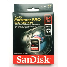 Карта памяти  SanDisk 64Gb Extreme Pro SDXC UHS-I U3  V30 170/90 MB/s
