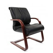 Кресло для посетителей Chairman 445 WD черное кожа